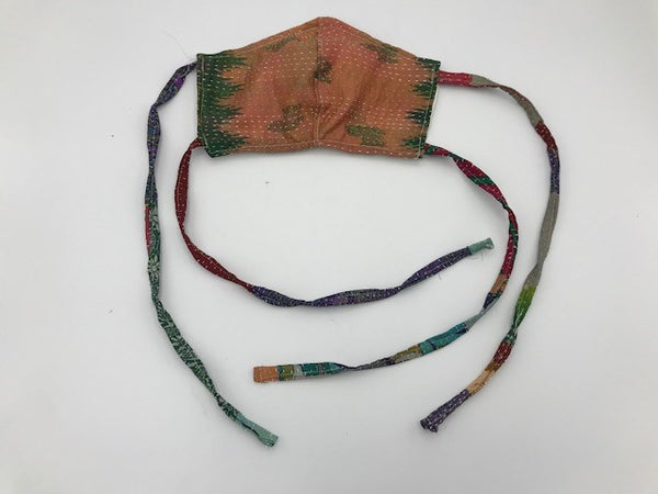 Green Peach Kantha Style Silk Face Mask with Ties