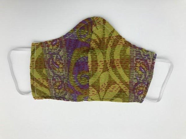 Green Purple Pattern Kantha Style Silk Face Mask with Elastic Ear Holders