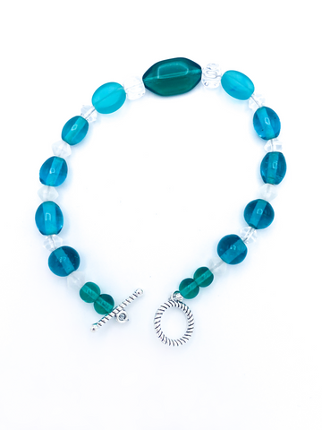 Blue green and white bracelet