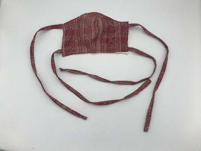 Maroon Pink Style Silk Face Mask with Ties