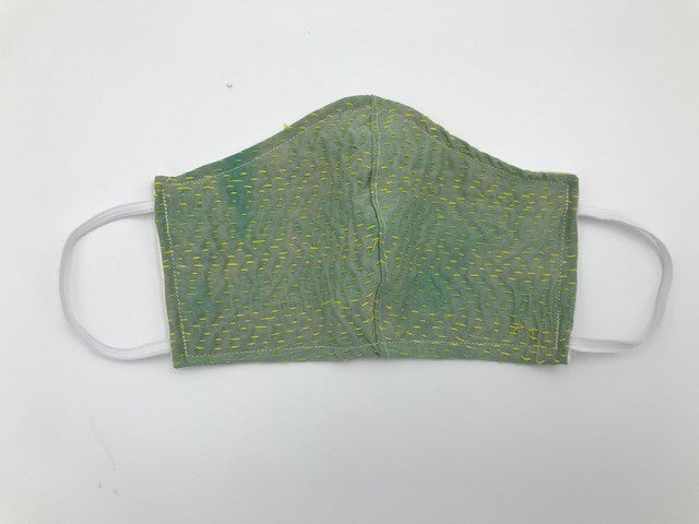 Mint Green Kantha Style Silk Face Mask with Elastic Ear Holders