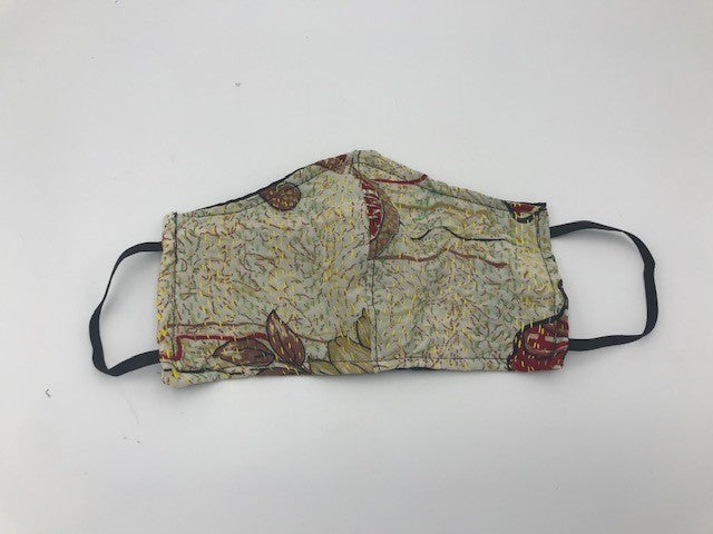 White Red Pattern Kantha Style Silk Face Mask with Elastic Ear Holders
