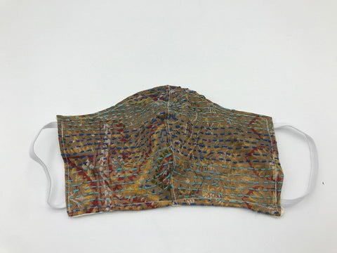 Toupe Kantha Style Silk Face Mask with Elastic Ear Holders