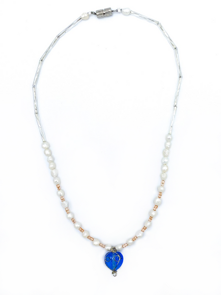 Pearl necklace with blue pendent