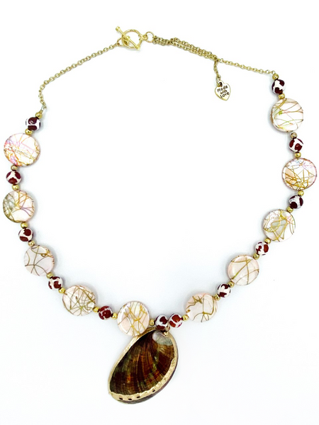 Pink, Gold and Maroon Necklace and Earrings