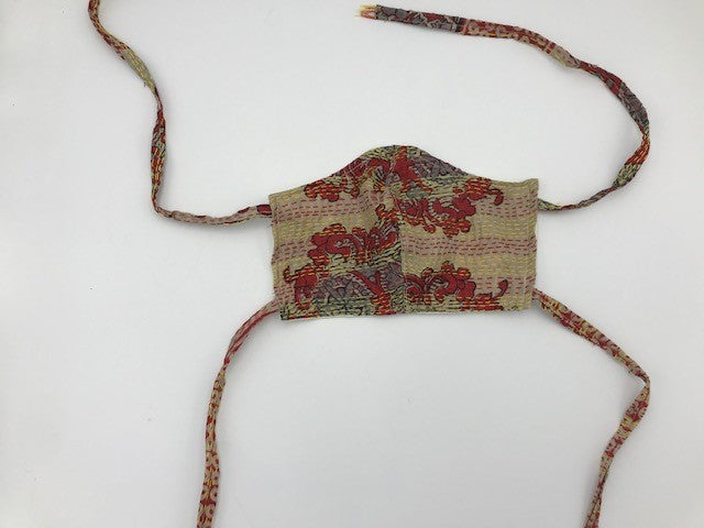 Beige Red Style Silk Face Mask with Ties
