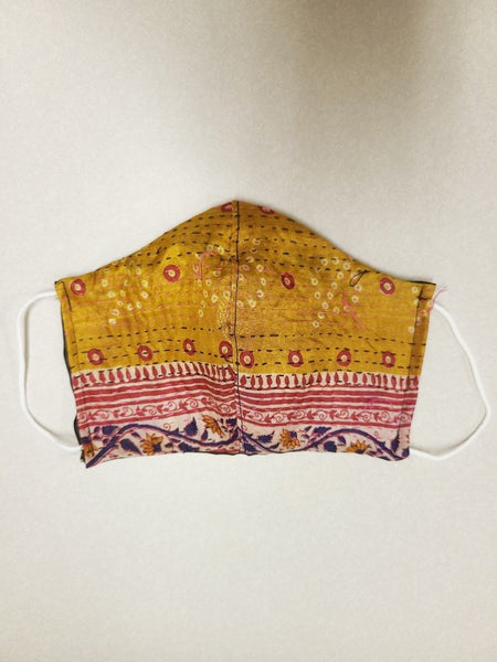 Gold & Red Kantha Style Silk Face Mask with ear cords