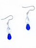 Clear and Blue dangle earrings