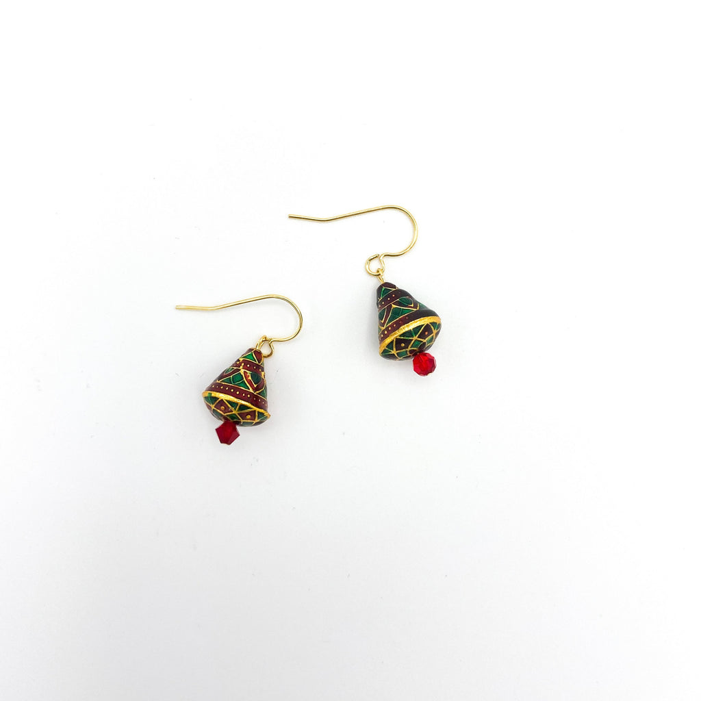 Holiday Red and Green Tree Earrings Small