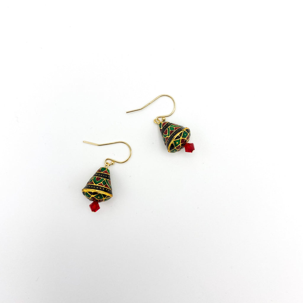 Holiday Green and Black Tree Earrings - Small