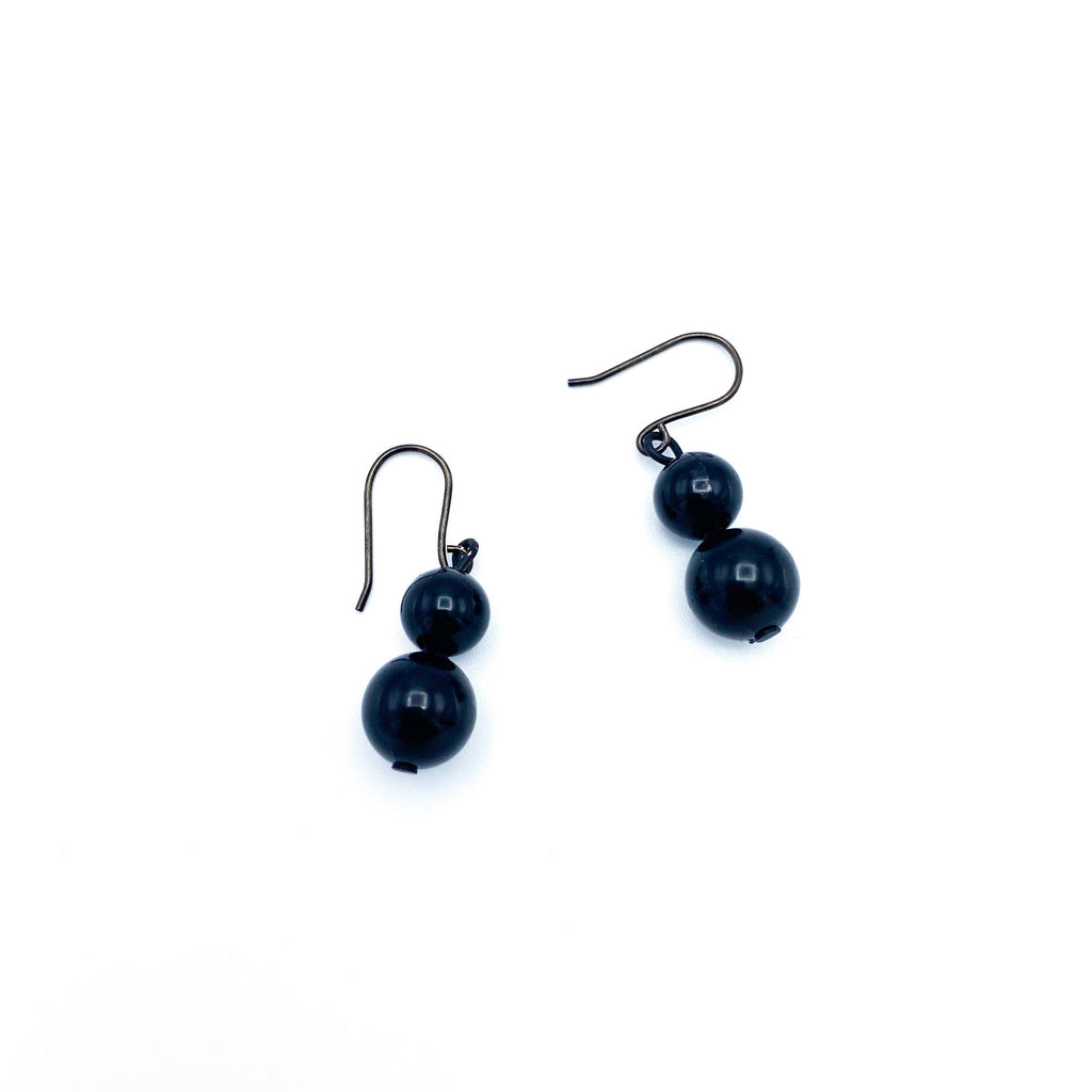 Black Double Bead Dangles