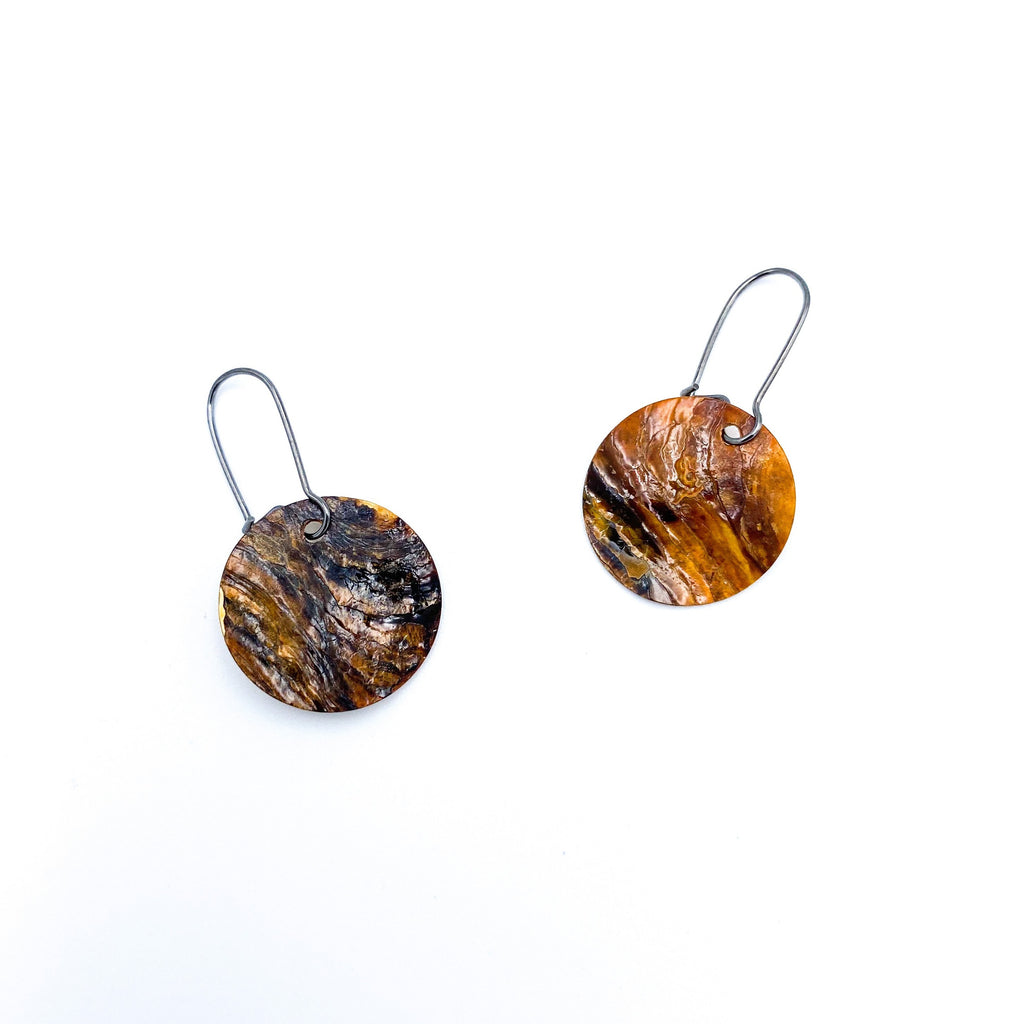 Round Rustic Brown Earrings