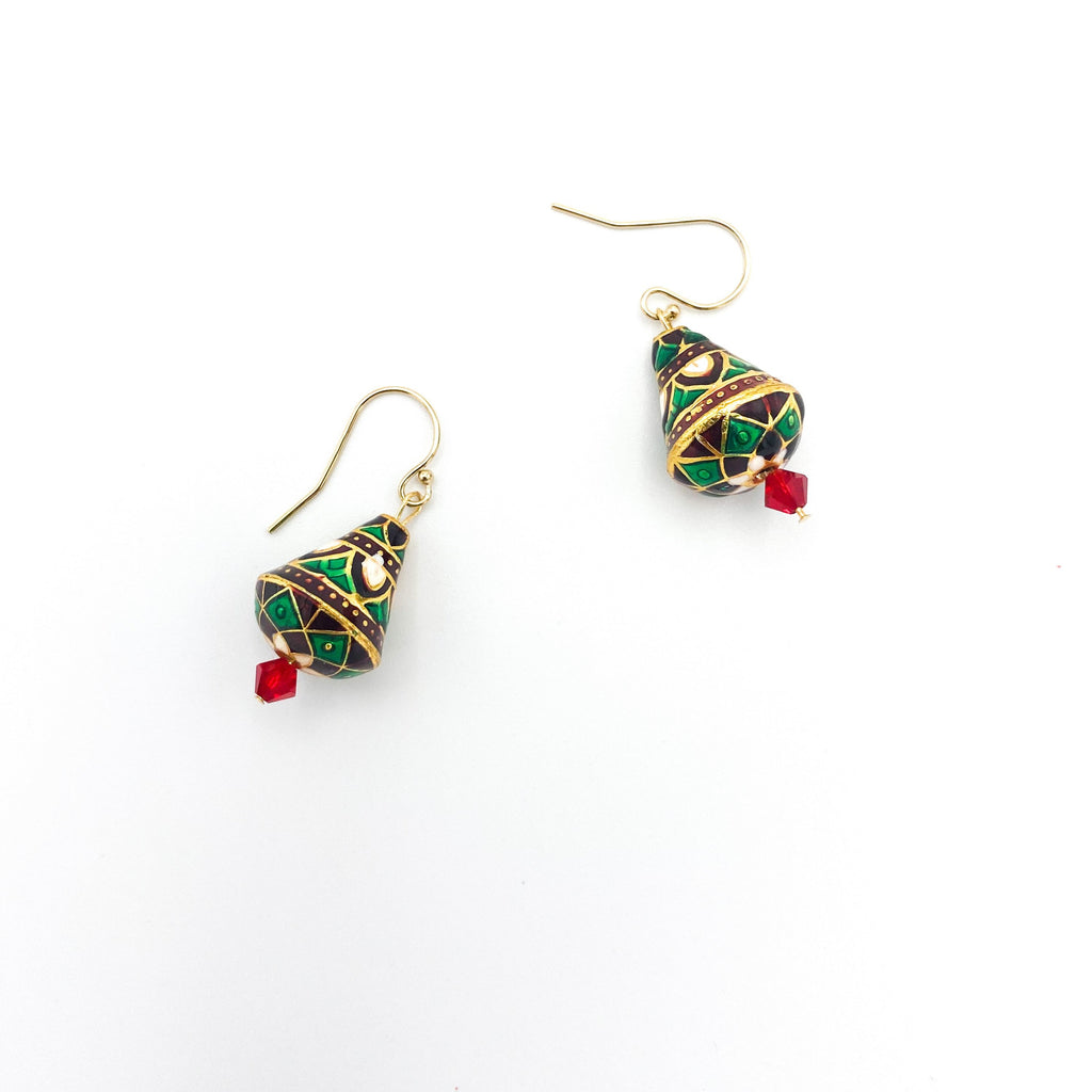 Holiday White and Green Tree Earrings