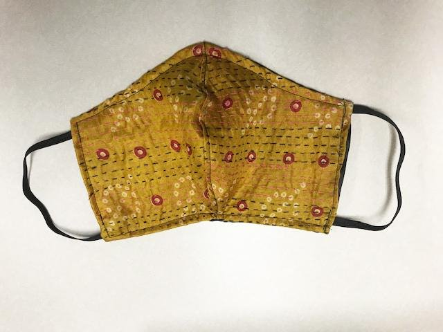 Orange Kantha Style Silk Face Mask with with Black Elastic Ear Holders