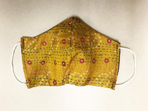 Orange Kantha Style Silk Face Mask with ear cords