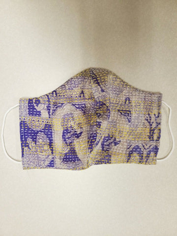 Purple Kantha Style Silk Face Mask with Cord Ear Holders