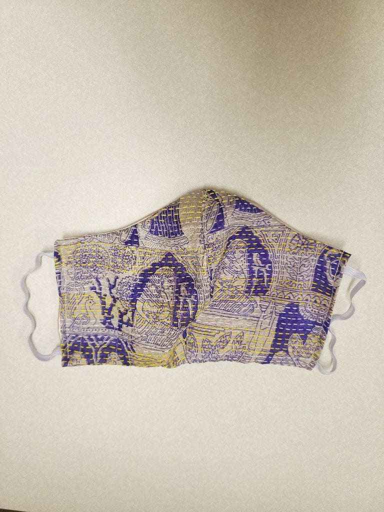 Purple Kantha Style Silk Face Mask with Elastic Ear Holders