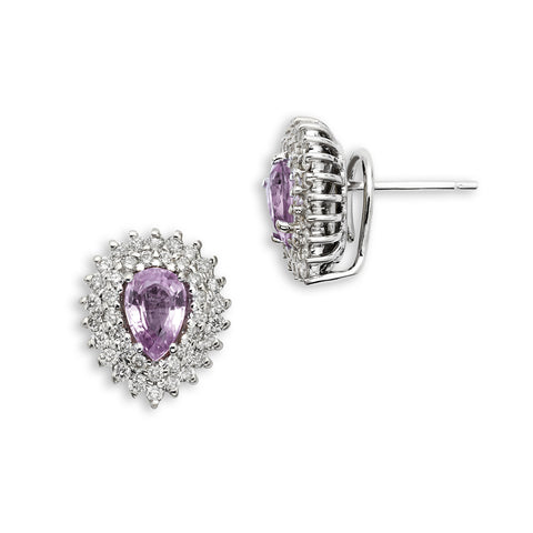 18K Gold Two Rows Diamonds Earrings Pink Sapphire