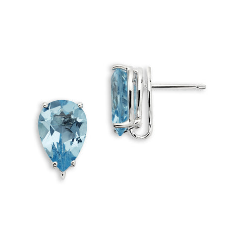 18K Gold Stud Earrings Blue Topaz