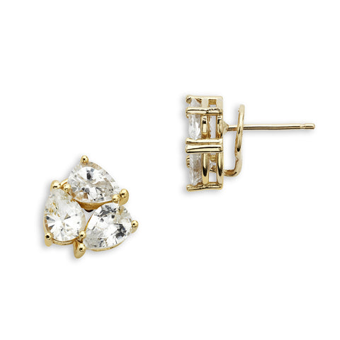 18K Gold Tri Earrings White Sapphire