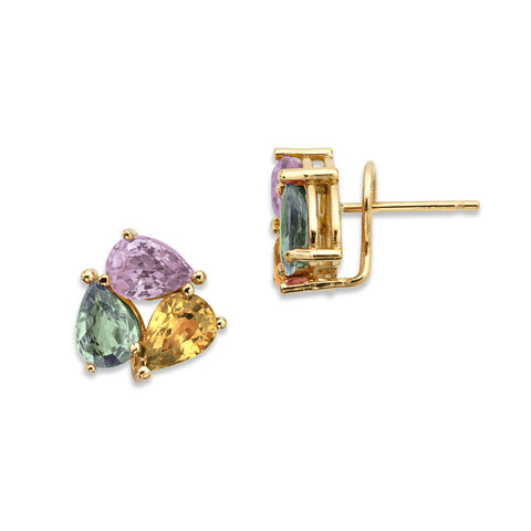 18K Gold Tri Earrings Multi Color Sapphire
