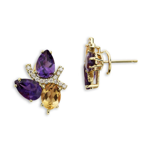 18K Gold Diamond Earrings Amethyst and Citrine
