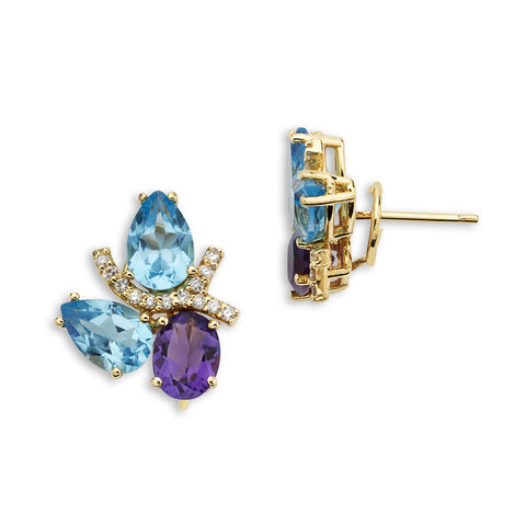 18K Gold Diamond Earrings Blue Topaz and Amethyst