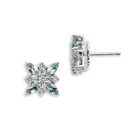 18K Gold Marquise Diamonds Earrings Blue Topaz