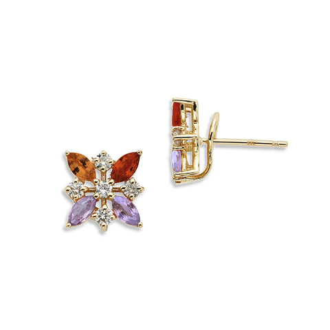 18K Gold Marquise Diamonds Earrings Multi Color Sapphire