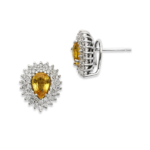 18K Gold Two Rows Diamonds Earrings Yellow Sapphire