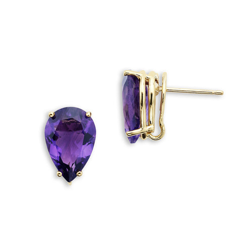 18K Gold Stud Earrings Amethyst