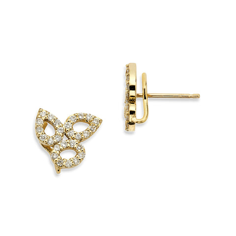 18K Gold Triple Diamonds Earrings