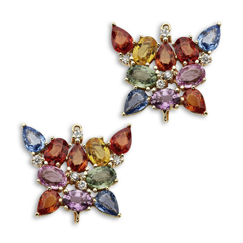 18K Gold Butterfly Enhancer Multi Color Sapphire