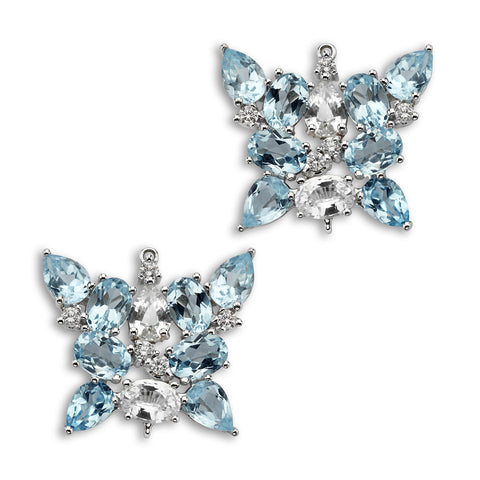 18K Gold Butterfly Enhancer Blue Topaz and White Sapphire