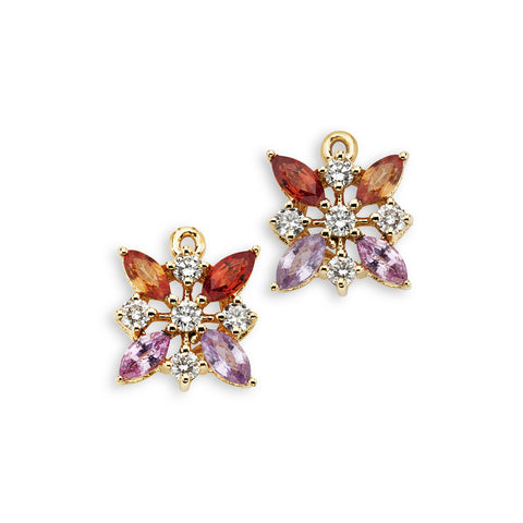 18K Gold Marquise Enhancer Multi Color Sapphire