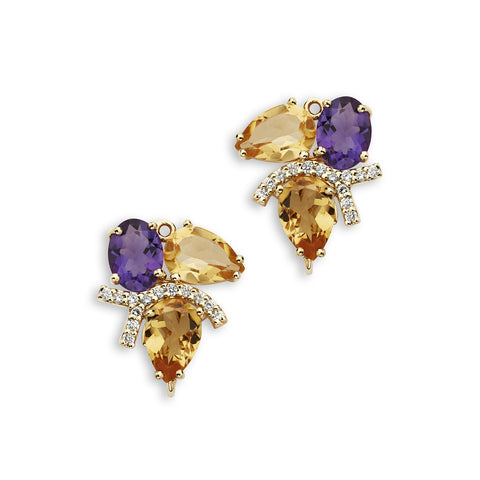 18K Gold Diamonds Enhancer Citrine and Amethyst