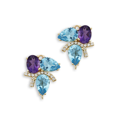 18K Gold Diamonds Enhancer Blue Topaz and Amethyst
