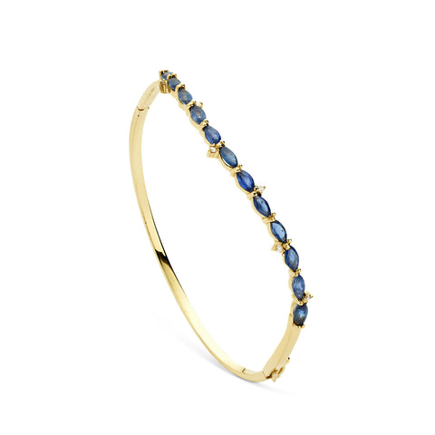 18k Gold Wave Bangle Blue Sapphire