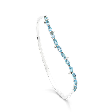 18k Gold Wave Bangle Blue Topaz