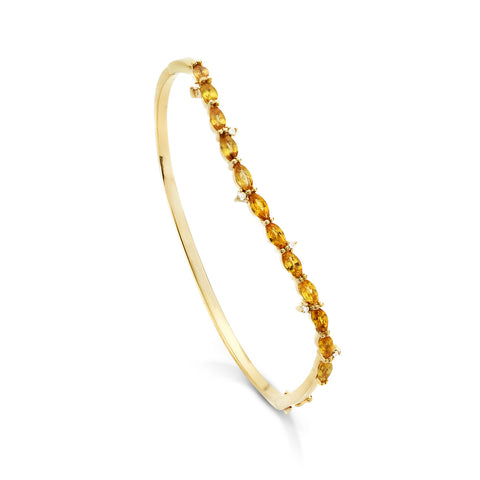 18k Gold Wave Bangle Yellow Sapphire