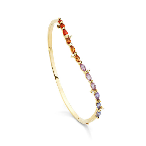 18k Gold Wave Bangle Multi Color Sapphire