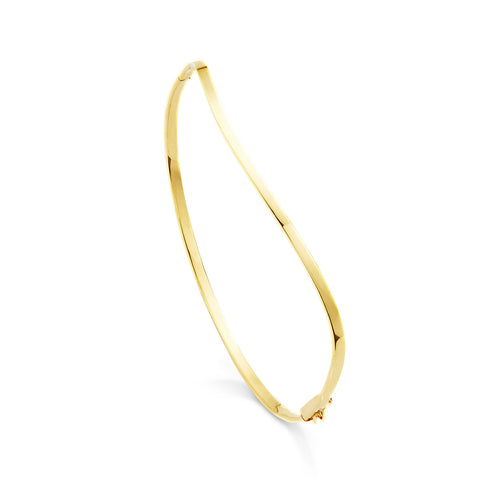 18k Gold Wave Bangle