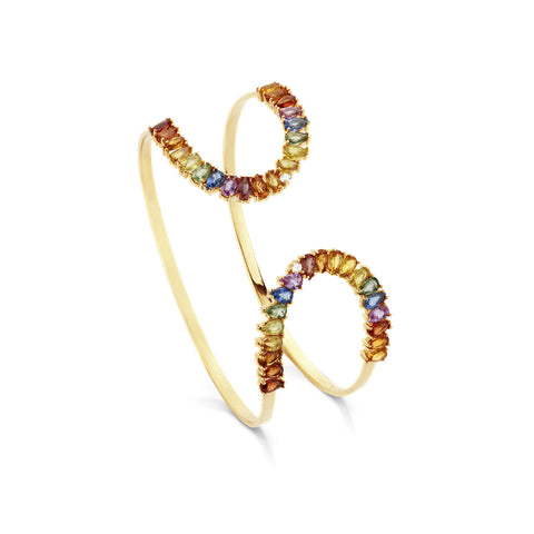 18k Gold Cocktail Bracelet Multi Color Sapphire