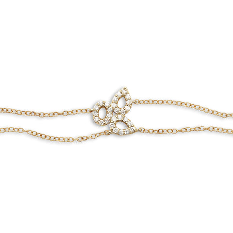 18k Gold Triple Diamonds Chain Bracelet