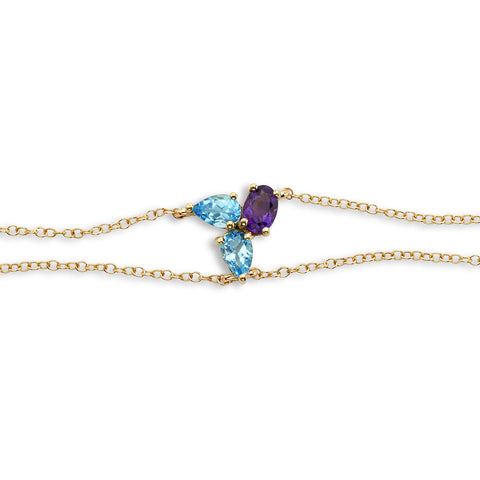 18k Gold Triple Chain Bracelet Blue Topaz and Amethyst