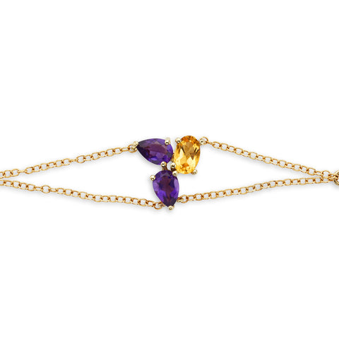 18k Gold Triple Chain Bracelet Amethyst and Citrine