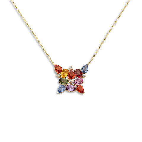 18k Gold Butterfly Necklace Multi Color Sapphire