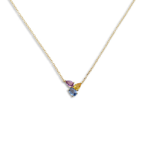 18k Gold Triple Chain Necklace Multi Color Sapphire