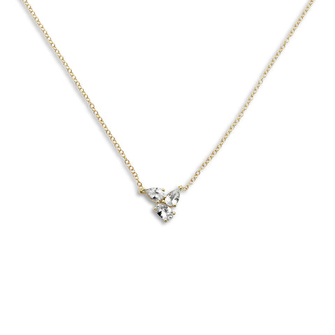18k Gold Triple Chain Necklace White Sapphire