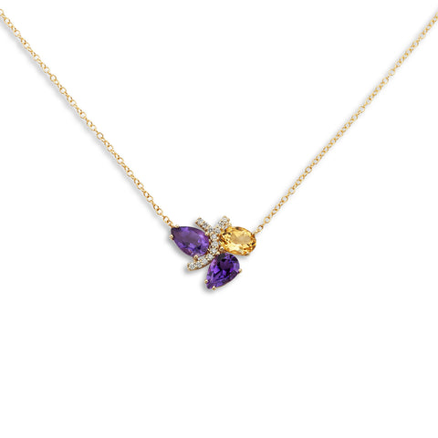 18k Gold Diamonds Necklace Amethyst and Citrine